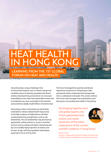 Heat Health in Hong Kong: Lessons from the 1st Global Forum on Heat and Health